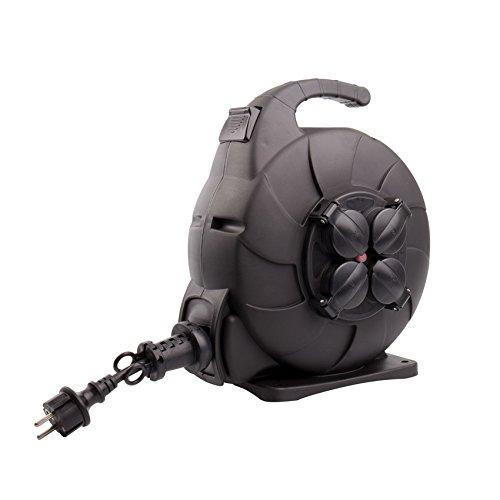 LEDKIA LIGHTING Carrete de Cable Rebobinado Automático 15m IP44 Negro