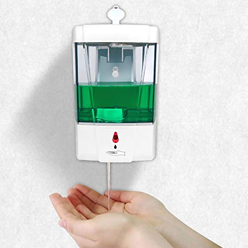 SUNJULY Dispensador Gel Hidroalcoholico Automático, Dispensador Jabón Pared Dispensador Desinfectante Manos Sin Contacto Sensor IR con Bloqueo de Cubierta 1ML/Gota para Cocina, Baño, Hospital, 700ML