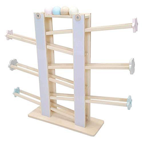 Hess Holzspielzeug 31122 - Kugelbahn aus Holz, zerlegbar, mit 4 Kugeln, handgefertigt, für Kinder ab 18 Monaten, ca. 60 cm, für fröhlichen Spielspaß im Kinderzimmer und Kindergarten