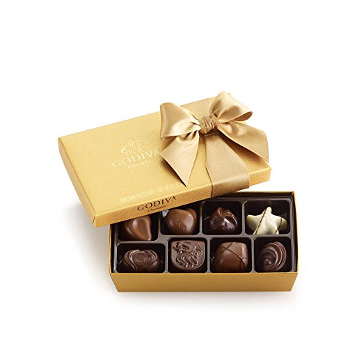 Godiva Chocolatier Assorted Chocolate Gold Ballotin Gift Box, Great for Gifting, Belgian Chocolate, 8 Count