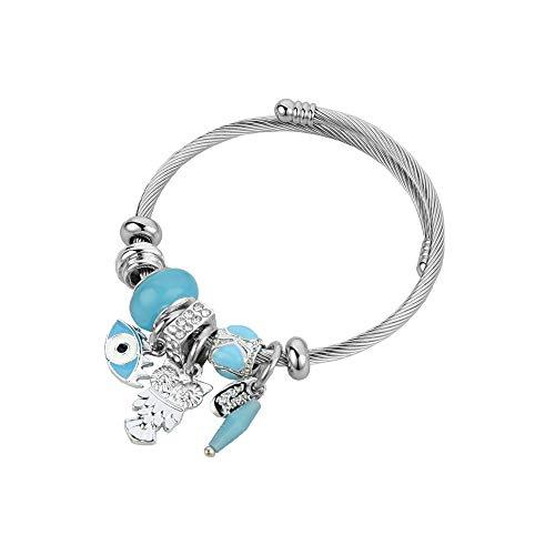 Chili Jewelry Bangle Blue Evil Eye Charms Bracelet Adjustable Cuff Bracelet for Women Girls Gifts