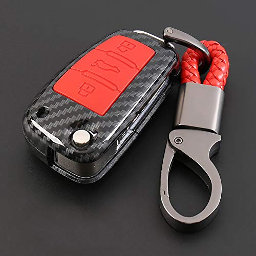 ontto for Audi Carbon Fiber Texture Key Case Cover Key Ring Remote Protective Case Shell Prevent Falling and Scratch Hight Quality and Fashionable ABS + Natural Rubber (Red)