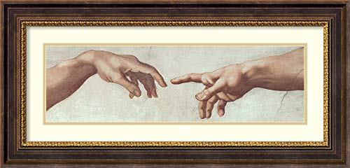 Framed Wall Art Print Hands of God and Adam, Detail (ii) from The Creation of Adam, from The Sistine Ceiling, 1511 (pre Restoration) by Michelangelo Buonarroti 34.62 x 16.62 in.