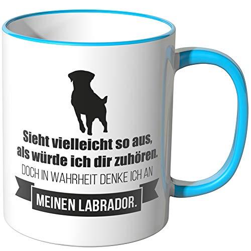 JUNIWORDS Tasse - Ich denke an Labrador - Wähle Motiv & Farbe - Blau