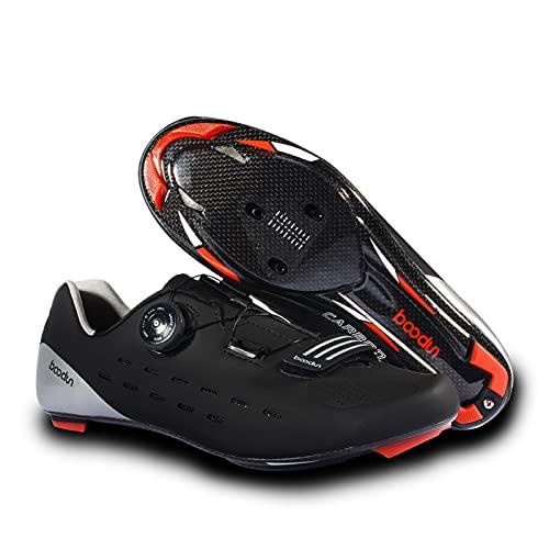 BSTL Zapatillas de Deporte Unisex Zapatillas de Ciclismo de Interior con Sistema de Cuerda de trinquete Zapatillas de Ciclismo de Carretera de Fibra de Carbono Zapatillas de Ciclismo SPD,Black-44