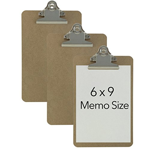 Trade Quest Memo Size 6'' x 9'' Clipboards Standard Clip Hardboard (Pack of 3) (Pen Not Included - for Scale Only)