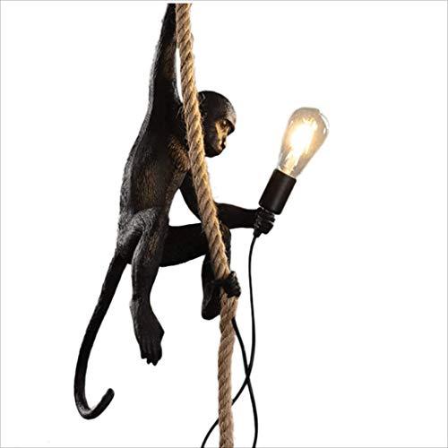 FGART Weinlese-Industrielle Art-AFFE-Lampe Affenlampe Hängend Mit Seilharz Schwarzer Kronleuchter Kunst-Persönlichkeits-Kreativer Harz Hanf-Seil-AFFE-Leuchter E27 35X 20 X 70 cm,Schwarz