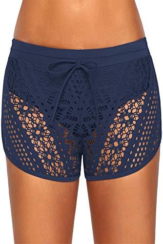 Kfnire Shorts de Baño Mujer Elegante Corta Bikini de Encaje Bragas con Interior los Calzoncillos de Triángulo, Bañadores De Mujer Pantalones de Natación Shorts con Cordón Ajustables