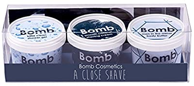 Bomb Cosmetics A Close Shave Handmade Face & Body Gift Pack, For Men [Contains 3-Pieces x 110ml]