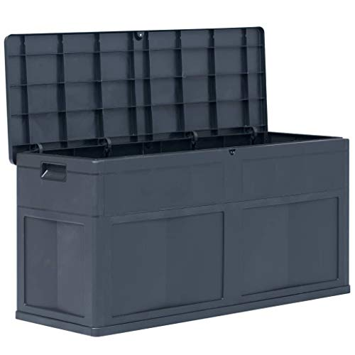 Lechnical Outdoor Plastic Garden Storage Shed, 320L Garden Storage Bench Box Large Cpacity Storage Box for Garden Waterproof and Lockable, 119 x 46 x 60 cm (L x W x H), Black