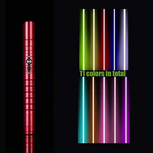 Hengqiyuan Metal Lightsaber Hilt 11 Color RGB Lser Cosplay Juguete Al Aire Libre Guerra Guerra Fuerza FX Saber Luz Y Blaster Sonido, Regalo para Nios Y Adultos,Rojo