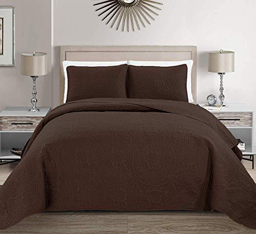 MK Home Tagesdecke für Doppelbett, extra lang, einfarbig, 172,7 x 228,6 cm, Kaffeebraun / Dunkelbraun, 2 Stück