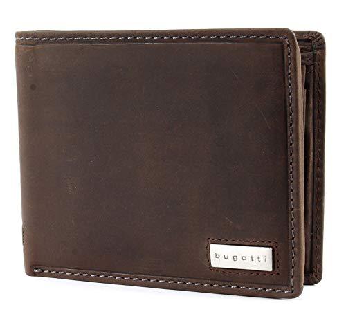 bugatti Hunter RFID Coin Wallet with Flap Metal Logo 8CC Brown