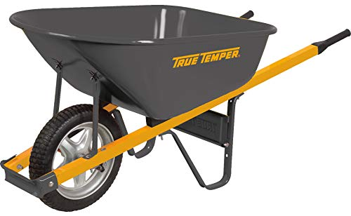 True Temper R6STSP25 Never Flat Tire Steel Wheelbarrow, 6 Cubic Foot