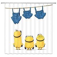 黄色い漫画男青いストラップジーンズ浴室の窓の装飾のための生地のホックが付いているポリエステル防水シャワー・カーテン60X72in