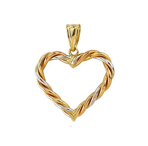 Goldanhänger Herz geflochten 585 Gold Anhänger Kettenanhänger 14 Karat Gelbgold Rotgold Weißgold Tricolor Damen Schmuck 2153