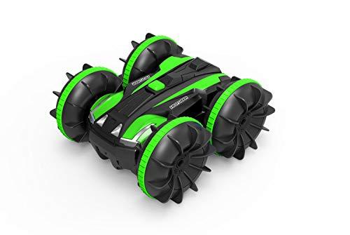 LUOWAN Carrera teledirigido anfibia, 2.4GHz 4WD Carreras de Juguetes de Alta Velocidad, Giro de 360 Grados, Adecuado para su Uso en y Agua, es Regalo Genial para los niños-Verde