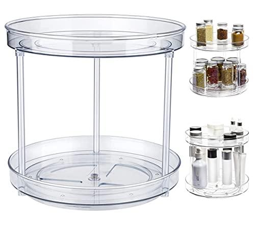 Estante giratorio para especias, plato giratorio para armario de cocina, bandeja de almacenamiento para frutas, aperitivos, soporte para armario, despensa, baño, mesa, cosméticos(23,5 cm 2 estantes)