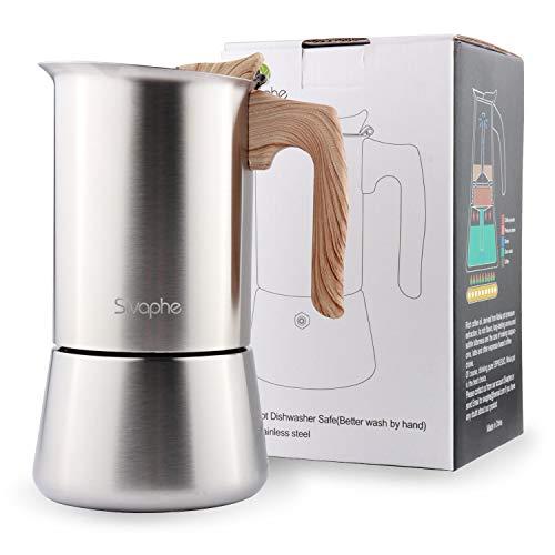 Sivaphe Espressokocher Induktion, 6 Tassen Herd Espressomaschine, Edelstahl Espressokanne Mokkakanne Espresso Maker, mit Silikon, Filter und Anleitung | Aluminiumfrei 300ML