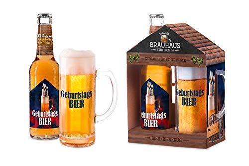 Bier Geschenk für den Mann, Ihn, Männer - Brauhaus mit Bierkrug oder 3 x 0,33 l. Bier Flaschen mit Spruch - Geschenkideen Valentinstag, Vatertag (Geburtstags Bier)