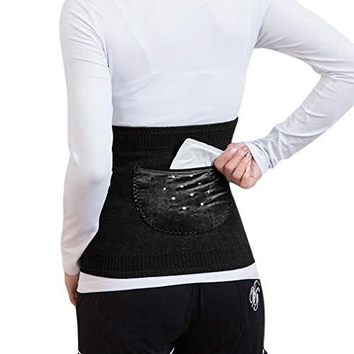Herbst Winter Kaschmir Nierenwärmer Rückenwärmer Bauchwärmer Elastisch Taille Unterstützung Taille Wärmer Leibwärmer Taillen Beschützer Gürtel Band Lendenwärmer für Damen Frauen (mit 2 kleine Tasche)
