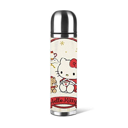 Hello Kitty Taza de vacío Taza de agua de acero inoxidable aislada Botella de agua con aislamiento al vacío Taza de viaje de café deportivo Taza termo Cubierta de cuero Capacidad 17OZ 500ML ^ A5