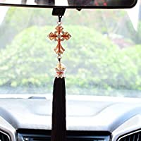LIOO 車 Universial クリスタルダイヤモンドイエスクロス車の装飾十字架自動車バックミラークリスチャン装飾アクセサリー