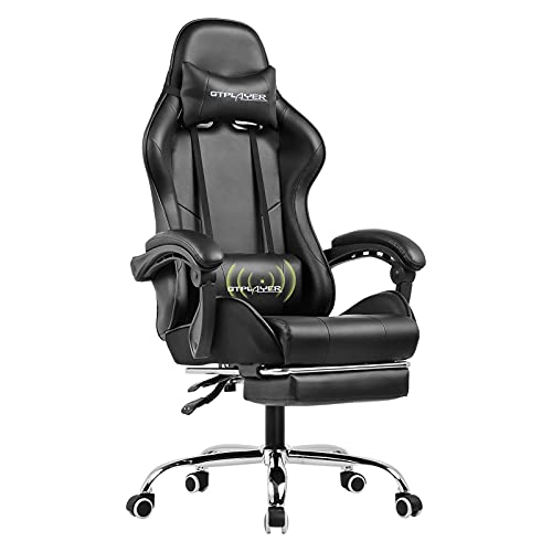 GTPLAYER Gaming Chair,Computer Chair with Footrest and Lumbar Support, Height Adjustable Gaming Chair with 360°-Swivel Seat and Headrest for Office or Gaming (Black)