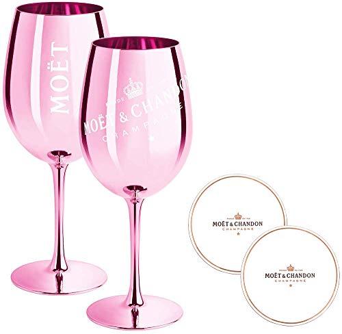 2 x Moet & Chandon Champagnerglas Rose (Limited Edition) Ibiza Imperial Glas Rosa Champagner-Glas Rosé Gläser + Untersetzer (2 Stück)
