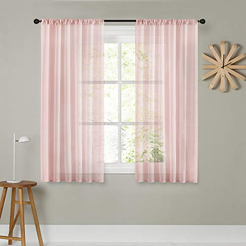 MRTREES Sheer Curtains Living Room Curtain Sheers Bedroom Window Curtain Panels Window Treatment Set