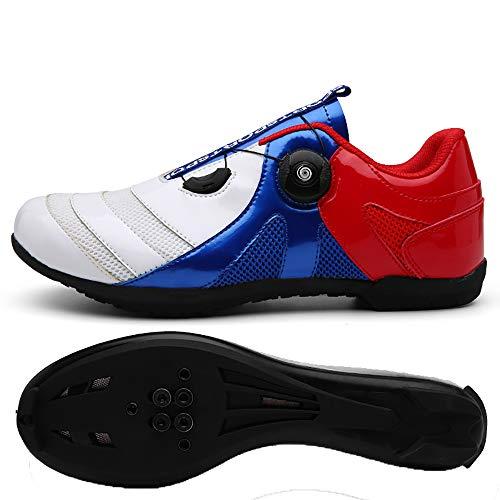 CHANGAN Scarpe da Bici, 1 Paio Ultraleggero Traspirante di Bici da Corsa Bici Sistema Anti-Scivolo Scarpe da Ciclismo per Ciclismo All'aperto White/Blue/Red-45