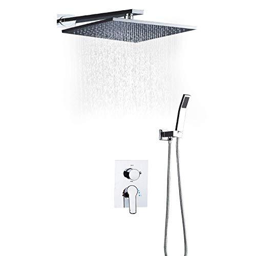 Z-LIANG Ducha de Lluvia Cuarto de baño Caliente y frío Lluvia Sistema de la Ducha Sistema de Ducha Ahorro de Agua Ducha Cuadrada de Lluvia, 10 Pulgadas (Color: Plata, Tamaño: 10') Ducha de Mano