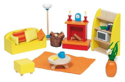 Goki 51904 - Sala de estar de 34 piezas para casita de muñecas