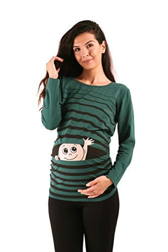 M.M.C. Ciao Ciao - Premaman Abbigliamento Donna Magliette Premaman T-Shirt Divertente Gravidanza - Maniche Lunghe maternità (Verde Scuro, Large)