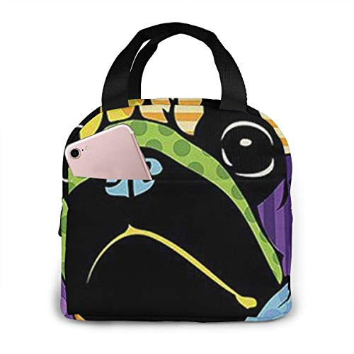 Portable Insulated Lunch Bag, Best Pug Dog Lunch Cooler Tote Bag For Work School Travel Lunch Box With Front Pocket Ice Pack