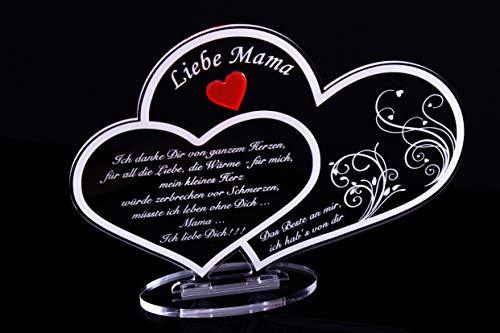 Acryl Schild in Doppelherz Form Liebe Mama, Perfekt zu Muttertag oder Weihnachten, mit Lasergravur, Geschenk, 220 mm x 160 mm (Doppelherz-Schild Liebe Mama)