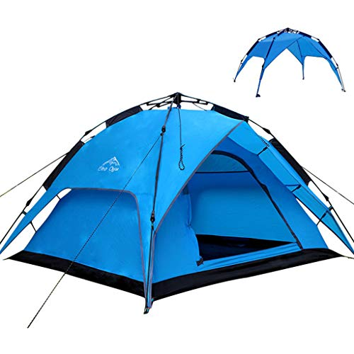 JINGQI Outdoor Camping Tent Travel Tent Free To Build Automatic Pole Tent 3~4 People Double-Layer Double Door Rainproof Light Tent,Blue