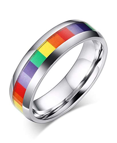 PJ JEWELLERY Stainless Steel Rainbow Center Domed Polished Gay Pride Wedding Band, Engagement Ring for Gay or Lesbian,Size L 1/2