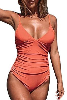 CUPSHE Women's Bright Day Shirring V Neck One Piece Swimsuit Large Orange