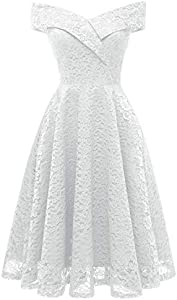 Chowsir Women Off Shoulder V-Neck Lace Cocktail Party Prom Midi Dress Sleeveless