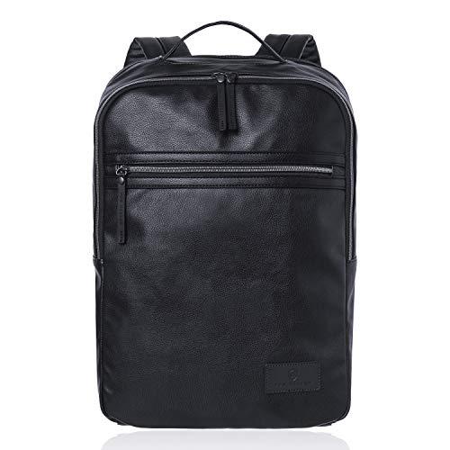 VON HEESEN Laptop Rucksack bis 15,4 Zoll I 2 Fächer I Business-Rucksack mit gepolstertem Notebook & iPad-Fach für Damen & Herren (Schwarz)