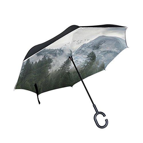 JSTEL Double Layer seitenverkehrt Forest Nebel Baum Berge Regenschirm Cars Rückseite Winddicht Regen Regenschirm für Auto Outdoor mit C geformter Griff