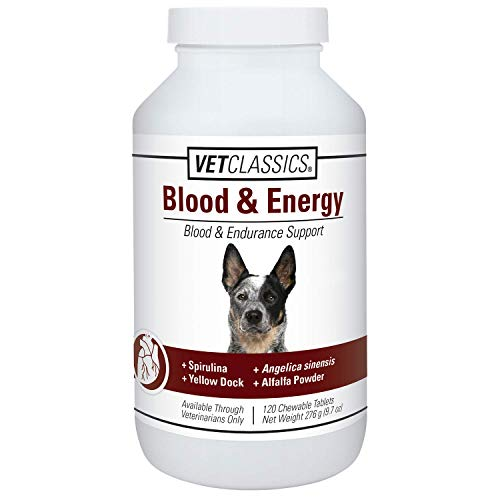 Vet Classics Blood & Energy Support for Dogs, Supports Endurance with Spirulina, Yellow Dock, & Alfalfa Support Formation of Hemoglobin and Myoglobin, 120 Chewable Tablets