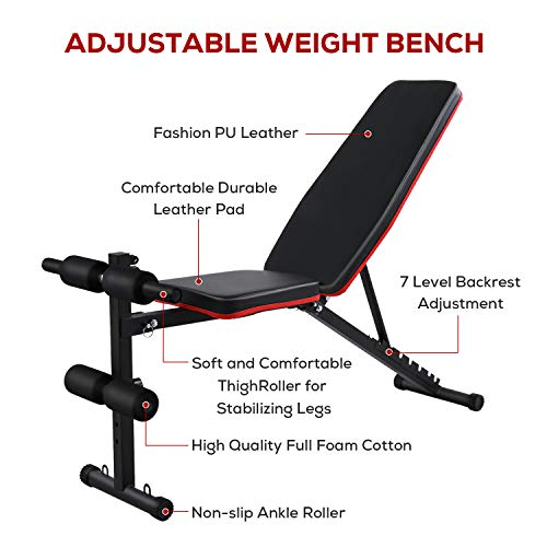 Adjustable Weight Bench Press for Full Body Workout Foldable Incline/Decline Sit Up Exercise Multi-Purpose Strength Training Benchs with Rope for Home Gym