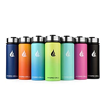 HYDRO CELL Stainless Steel Water Bottle with Straw & Wide Mouth Lids  18oz  - Keeps Liquids Perfectly Hot or Cold with Double Wall Vacuum Insulated Sweat Proof Sport Design  Red/Orange 18oz