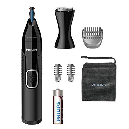 Philips Serie 5000 NT5650 16 Naricero tecnología PrecisionTrim,protección de la piel,accesorio para barba,accesorio cortapatillas,cepillo para limpieza del dispositivo,2 peines,funda y pila incluída