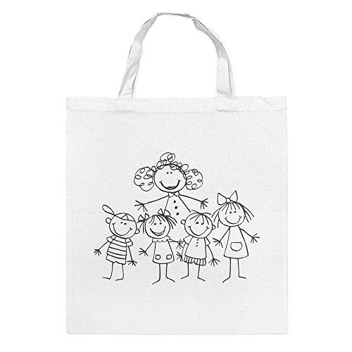 Rayher 3827400 Baumwoll-Tasche, bedruckt, beige, 38x42 cm, Kindergarte
