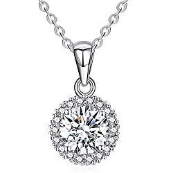 ❤ Material: Round necklace make with shining cubic zirconia and 925 sterling silver. Hypoallergenic,nickel-free, lead-free, safe for human body. ❤ Size: Cubic zirconia necklace width-11mm, height-18mm, 925 sterling silver rolo chain length-45cm(18in)...