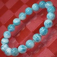 *AA級天然石 不眠症、うつに ラリマー10mm(±0.3mm)珠パワーストーン.ブレスレット(女性LL.男性L.size)