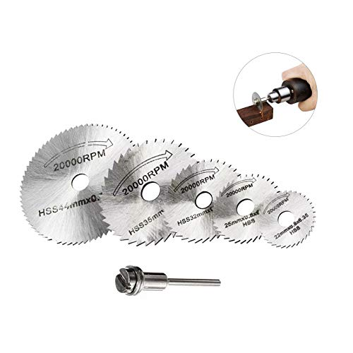 6 PCS HSS Saw Blades, Mini Size Cutting Discs for Dremel, Rotary Saw Blade Metal Drill Cutting Disc Wheel Blades with Mandrels for Dremel Cut Off for Drill Dremel Tool Accessories